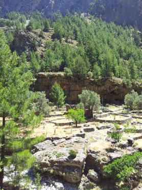 Soutěska Samaria - pozůstatky vesnice